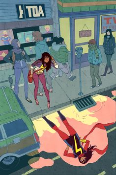 I drew the cover for Ms Marvel 14! It was fun, I honestly miss drawing Kamala. Most sites are crediting it to Jake Parker (who is a fantastic artist) and those sites are wrong. I drew it. Me. (you can tell it was me because there's an Tsutomu Nihei...