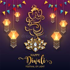 Illustration about Happy Diwali festival card with gold diya patterned and crystals on paper color Background.