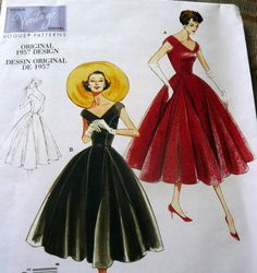 1950s VOGUE VINTAGE MODEL DRESS SEWING PATTERN 14-16-18-20 UC