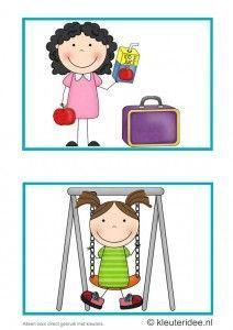 Dagritmekaarten voor kleuters 3, kleuteridee.nl , fruit eten en buiten spelen, daily schedule cards for preschool 3, free printable.