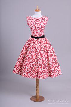1950's Henri Bendel Red & White Poppy Garden Vintage Dress : Mill Crest Vintage