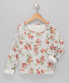 Take a look at this Heather Gray Floral Sweatshirt by Sugar Tart on #zulily today!
