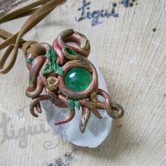Woodland pendant , green amulet , root amulet, polymer clay p... More