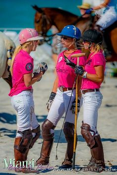 Polo - Miami Beach. Girls in pink on the beach for the game!