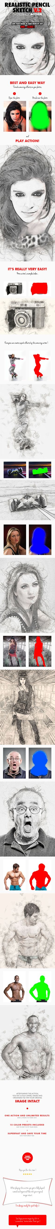 Realistic Pencil Sketch V.2 Photoshop Action - Photo Effects Actions