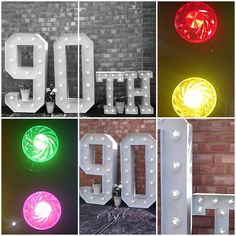 90th Large Light Up Letters for Birthday Celebrations.