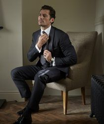 David Gandy in his Black and White sock, tie and pocket square collection for London Sock Co.