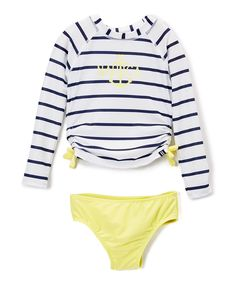 Sail White & Navy Stripe Anchor Rashguard Set - Infant, Toddler & Girls