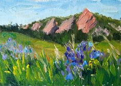 Kit Hevron Mahoney Fine Art: KMD2823 Glorious Flatirons 5x7 landscape by Colorado artist Kit Hevron Mahoney