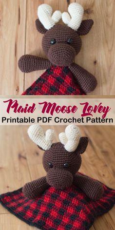 lumberjack moose baby lovey -Plaid Crochet Patterns – Create Trendy Plaid - A More Crafty Life Crochet Lovey Free Pattern, Crochet Gratis, Crochet Blanket Patterns, Baby Blanket Crochet, Knitting Patterns, Lovey Blanket, Crochet Patterns Amigurumi, Doll Patterns, Dress Patterns
