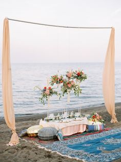 A boho beach wedding inspiration shot by Toronto Destination Wedding Photographer, Rhythm Photography. Boho Beach Wedding, Beach Wedding Inspiration, Romantic Beach, Boho Inspiration, Wedding Ideas, Beach Wedding Decorations, Bridal Shower Decorations, Picnic Decorations, Beach Dinner Parties