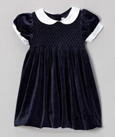 Take a look at this Navy Smocked Velveteen Dress - Infant & Toddler by Fantaisie Kids on today! Little Girl Dresses, Girls Dresses, Vintage Clothing, Vintage Outfits, Sewing Baby Clothes, Infant Toddler, Baby Things, Navy And White, Smocking