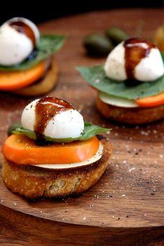 Persimmon Pear Caprese Toast by joythebaker #Caprese #Persimmon #Pear