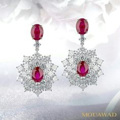 Mouawad earrings blaze with the stunning splendor of diamonds and colored stones.