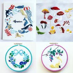 西荻窪の刺繍教室『アンナのラパン』参加者さんの作品。 大作ばかりです! 夏の物と秋の物が混ざっていますが、そういう季節ですねー。 ・ ・ #刺繍…