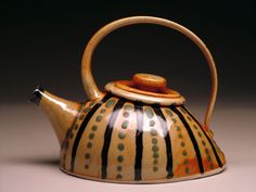 Tea Pot with Dots and Stripes