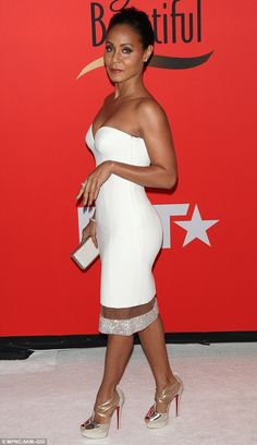 Winner: Jada, 43, wore a stunning white strapless mini-dress which showed off her incredibly fit and toned figure