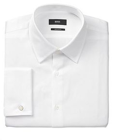 BOSS Black Dress Shirt, Solid French Cuff Long Sleeve Shirt - Dress Shirts - Men - Macy's