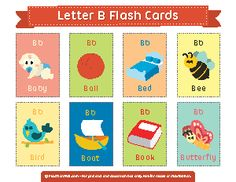 Free Printable Letter B Flash Cards Kindergarten Language Arts, Kindergarten Math Worksheets, Fun Worksheets, Learning English For Kids, Teaching English, Kids Learning, Word Games For Kids, Letter Flashcards, Abc Phonics