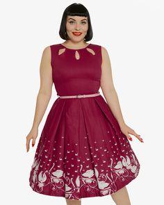 'Lily' Plum Swan Border Print Swing Dress | Vintage Inspired Fashion | Lindy Bop