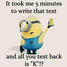 5 min text,u say k