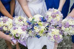 Rice Mill Wedding // Charleston SC Florals by Loluma Purple + Blue Bouquet Photo By Dana Cubbage Weddings www.danacubbageweddings.com