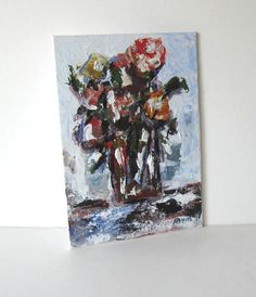 Small original still life painting on canvas Floral by BrookeHowie