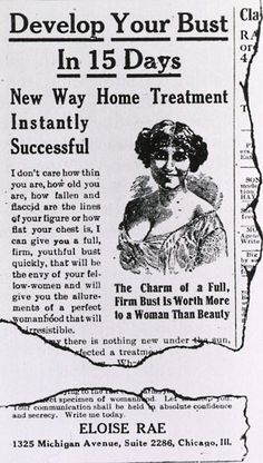 An breast enlargement advert dating from the early 1900s  Picture: SPL / Barcroft Media