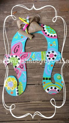 Personalized Colorful Wood Letter / initial Door Hanger flowers, polka dots and swirls. Painted Initials, Rustic Letters, Painting Wooden Letters, Dot Painting, Hand Painted, Letter Door Hangers, Initial Door Hanger, Door Letters, Puff Paint