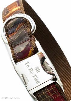 Fall dog collar for boys. Gorgeous autumn colors brown, gold, wine.