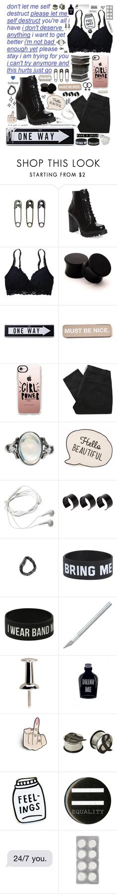 """""""broken record"""" by falselycathartic ❤ liked on Polyvore featuring Tim Holtz, Jeffrey Campbell, Aerie, Moschino, RIPNDIP, Casetify, Marc by Marc Jacobs, Samsung, ASOS and Hot Topic"""