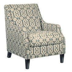 Blue White Accent Chairs With Arms And Large Back On Black Wooden ...