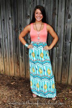 Peach Top Aztec Chevron Maxi Dress-Turquoise-Grey-Mustard-White on Wanelo