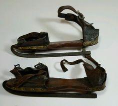 Antique Ice Skates Wood Leather Primitive Williams Morse 1859   eBay