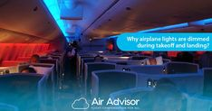 Why airplane lights are dimmed during takeoff and landing? Airplane Lights, Flight Compensation, Cabin Lighting, Landing, Fun, Travel, Viajes, Traveling, Tourism