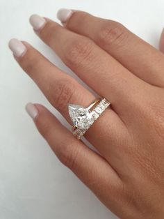 Pear Cut Engagement Rings, Engagement Ring Photos, Halo Diamond Engagement Ring, Gold Diamond Wedding Band, Diamond Solitaire Rings, Oval Diamond, Anniversary Rings, White Gold Diamonds, Piercing
