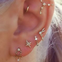 [b]TAKE CUES [/b] Another way to embrace this trend is aligning individual piercings so they look like your zodiac sign's constellation - seriously how cute would that be?!