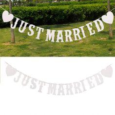 JUST MARRIED Weiß Buchstabe Banner Girlande Wimpelkette für Hochzeit Dekoration in Möbel & Wohnen, Hochzeitsdekoration, Dekoration | eBay
