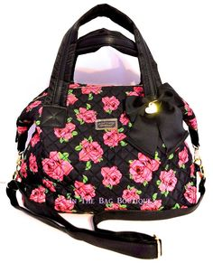 Betsey Johnson Diamond Quilt Marshmellow Floral Weekender Satchel Tote Bag NWT #BetseyJohnson #TotesShoppersshoulderbag