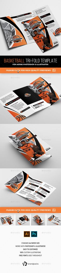 Basketball Tri-Fold Brochure Template PSD, AI