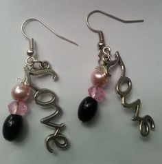 Check out this item in my Etsy shop https://www.etsy.com/listing/250722682/pink-and-black-love-dangle-earrings