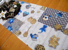 desil / pletené vianoce v modrom Quilts, Blanket, Quilt Sets, Blankets, Log Cabin Quilts, Cover, Comforters, Quilting, Quilt