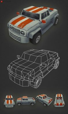 Low Poly Car 03 My third car is done. This one is a mix between a hummer and a ute. Low Poly Car, Jeep Concept, Polygon Modeling, 3d Tutorial, Zbrush Tutorial, Low Poly Games, Game Textures, Game Assets, 3d Assets
