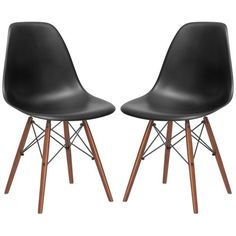 Set of 2 - Eames Style Molded Plastic Dowel-Leg Dining Side Chair (DSW – Poly + Bark
