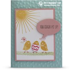 "Today's video tutorial is a super fun, stinkin' cute Easter card featuring the ""For Peeps Sake"" stamp set from Stampin Up. I love this little chick stamp, with the middle guy stuck in the egg. So adorbs! Use the Stampin Up markers to get multiple colors on the chickie image. Easy, quick and fun for spring. Stampin Up Work of Art, Stampin Up Kinda Eclectic"