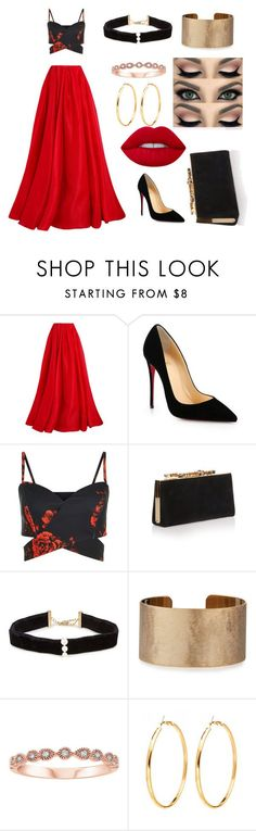 """Untitled #16"" by ariana-denise-sedamanos-franco ❤ liked on Polyvore featuring Reem Acra, Christian Louboutin, Jimmy Choo, Anissa Kermiche and Panacea"