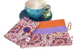 Tea Wallet   orange and purple by Driworks on Etsy