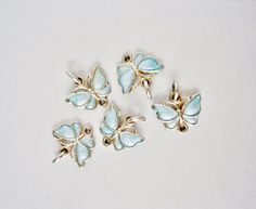 Sterling Silver Ice Blue Enamel Butterfly Bracelet Charm Denmark V.B. Gorgeous Pieces, Excellent Condition