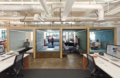 Square's offices.  Wifi + Cloud = 'hotdesk' = constant change.  Good for young techy idea-dreamers & doers. And small companies. Gets tougher the bigger and older a company gets, but with a good design team, it can be done.