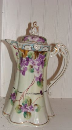 Vintage Nippon chocolate pot with painted violets